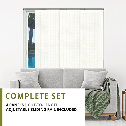 Vertical Panel - Chicology Adjustable Sliding Panels, Cut to Length Vertical Blinds, Seaside White (Natural Woven) - Up to 80