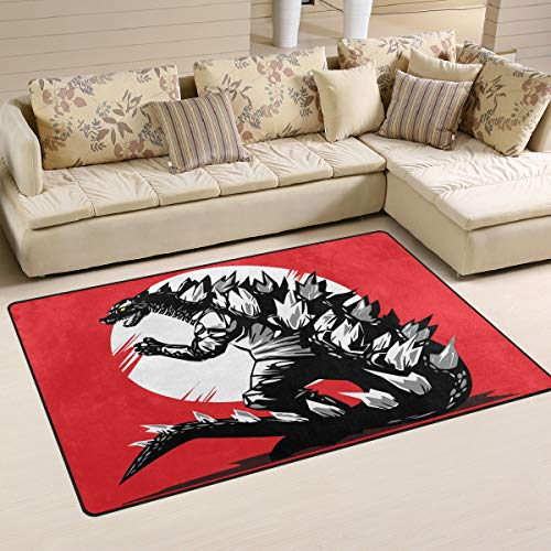 Red Godzilla Dinosaur (60 x 39 Inch) Door Mats Indoor Polyester Non Slip Multi Rectangle Doormat Kitchen Floor Runner Decoration for Home Bedroom Living Dining Room
