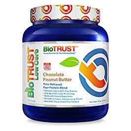 BioTrust Low Carb Natural and Delicious Protein Powder Whey & Casein Blend from Grass-Fed Hormone Free Cows | Non GMO, Soy Free, Gluten Free, Hormone & Antibiotic Free | Chocolate Peanut Butter