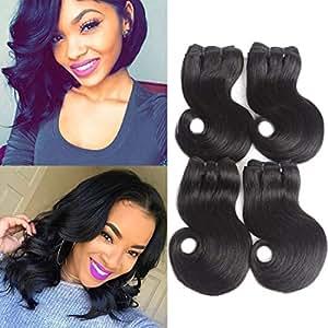 LiangDian Body Wave Bundles, Brailian Hair Short Human hair Bundles 4 Bundles 8 8 8 8 Inch Virgin Hair Extensions Hair Bundles Natural Color (50g/bundle))