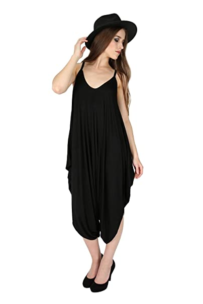 16cd14cf621e Amazon.com  Oops Outlet Women s Thin Strap Lagenlook Romper Baggy Harem  Jumpsuit Playsuit  Clothing