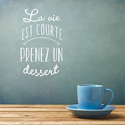Eraty DIY Removable Vinyl Decal Mural Letter Wall Sticker French Quote La Vie Est Courte Prenez Un Dessert for Living Room Bedroom