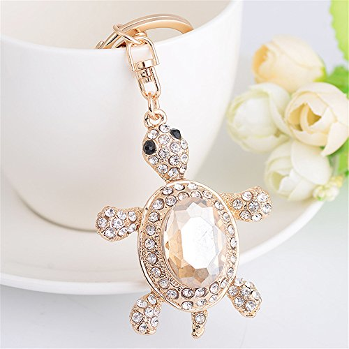 Axmerdal Cute Turtle Tortoise Gem Stone Keychain Key Chain Sparkling Key Ring Charm Purse Pendant Handbag Bag Decoration Holiday Gift (Gold)