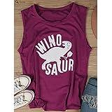 Iumer Women's Short Sleeve Vest T-shirt Letter Printed Winosaur Dinosaur Tank Tops