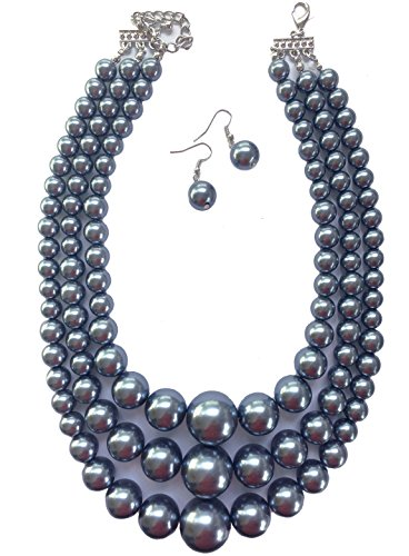 Acrylic Necklace Pearl (Secret for Longevity Multi Strand Resin Acrylic Blue Grey Faux Pearl Tahitian Gray Big Chunky Statement Necklace Earring Set)