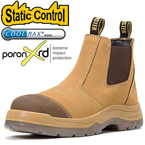 ROCKROOSTER Men's Work Boots Waterproof, Steel Toe, Antistatic, Water Resistant Leather Shoes, Width EEE-Wide (AK222, 8)