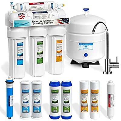 Express Water 5 Stage Under Sink Reverse Osmosis Water Filtration System 50 GPD RO Membrane Filter Modern Chrome Faucet Ultra Safe Residential Home Drinking Water Purification - Extra Set of 4 Filters