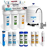100 gpd ro system - Express Water 5 Stage Under Sink Reverse Osmosis Water Filtration System 50 GPD RO Membrane Filter Modern Chrome Faucet Ultra Safe Residential Home Drinking Water Purification - Extra Set of 4 Filters