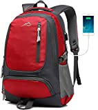 MOGGEI Backpack For School Bookbag College Student Business Travel with USB Charging Port Fit Laptop Up to 15.6 Inch (Red)