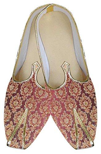 Inmonarch Heren Gouden Kastanjebruine Designer Mojari Mj087 Golden-maroon