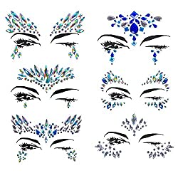 6 Sets Rhinestone Rave Festival Face Jewels