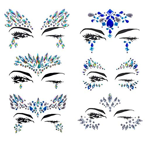 Gypsy Eye Makeup Halloween (Halloween Face jewels festival Women Mermaid Face Gems Glitter 6 Sets Rhinestone Rave Festival Face Jewels,Crystals Face Stickers Eyes Face Body Temporary)