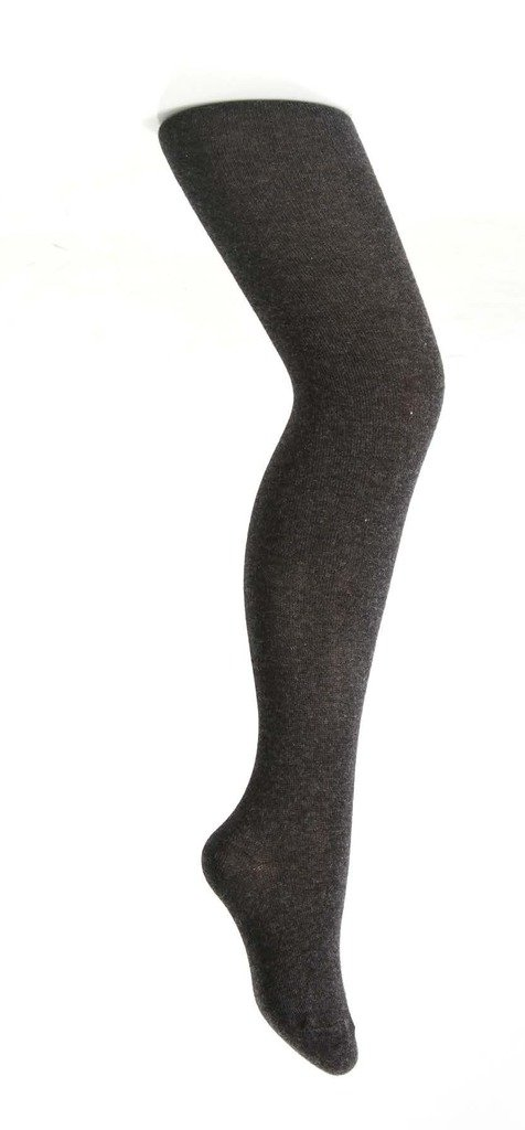 Zubii Girls Tights — Solid Footed Tights for Girls — Cotton Hosiery — Charcoal — 10