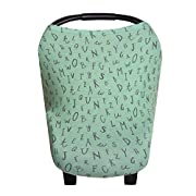 Baby Car Seat Cover Canopy and Nursing Cover Multi-Use Stretchy 5 in 1 Gift Poe by Copper Pearl