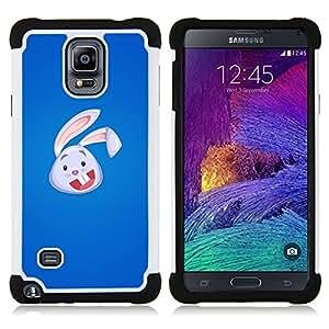 BullDog Case - FOR/Samsung Galaxy Note 4 SM-N910 N910 / - / Cute Bunny Rabbit Face /- H??brido Heavy Duty caja del tel??fono protector din??mico - silicona suave