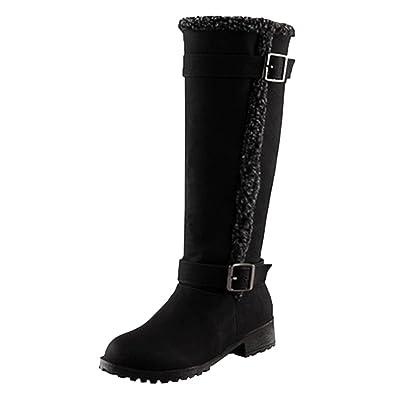 Damen Langschaft Stiefel mit Dicken Gefüttert Winter Warme Schneeschuhe Rutschfest (Khaki, 42 EU) Yiiquan