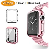 Apple Watch Case, Belyoung iWatch Screen Protector TPU All-around Full Front Protective Case for Apple Watch Series 3, Series 2, Series 1 (2 pack) (rose-gold, 38mm)