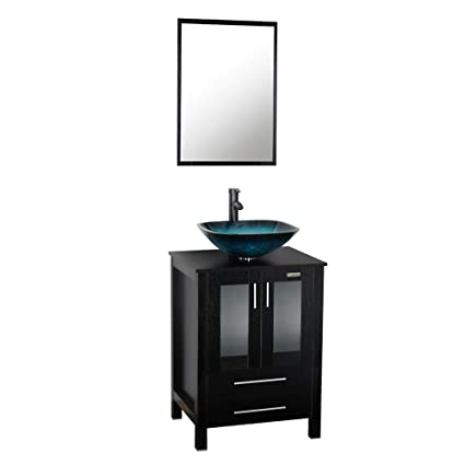 24 Inch Black Bathroom Vanity Square Tempered Glass Vessel Sink
