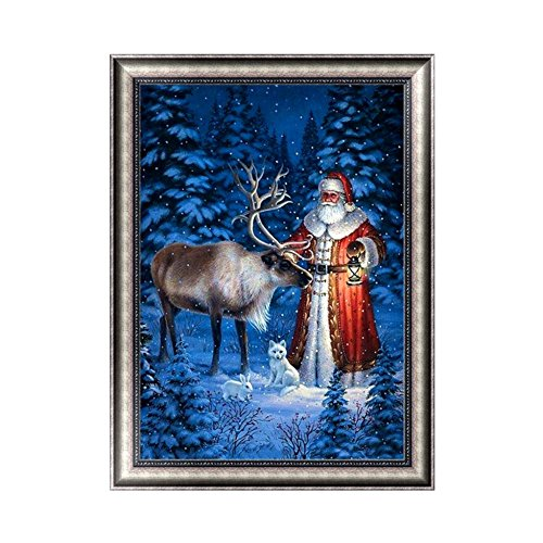 Adarl 5D DIY Diamond Painting Rhinestone Pictures of Crystals Embroidery Kits Arts, Crafts & Sewing Cross Stitch(Santa Claus Gift Time-6)