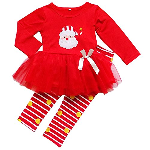 Gold Christmas Holiday Dress - So Sydney Toddler Girls 2 Pc Christmas Ruffle Pant Tunic Top Holiday Novelty Outfit (L (5), Santa Red & Gold)