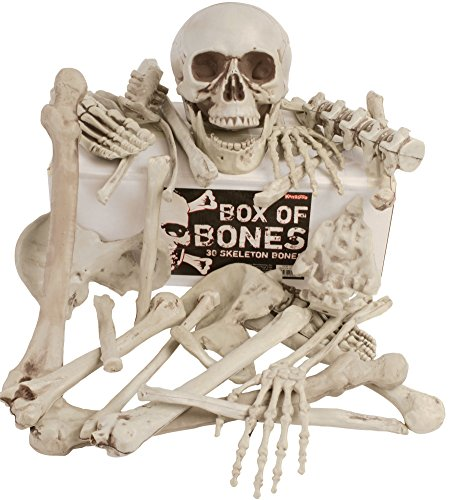Halloween Bones Decoration (Kangaroo's Box Of Bones; 30 Pc Set With Skull, Flexible Jaw, Skeleton Bones)