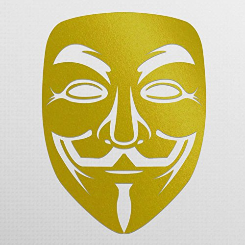 Vincit Veritas Anonymous Guy Fawkes Mask Gold Vinyl Decal Sticker | Premium Quality | 5.5-Inches | (Android Guy Costume)