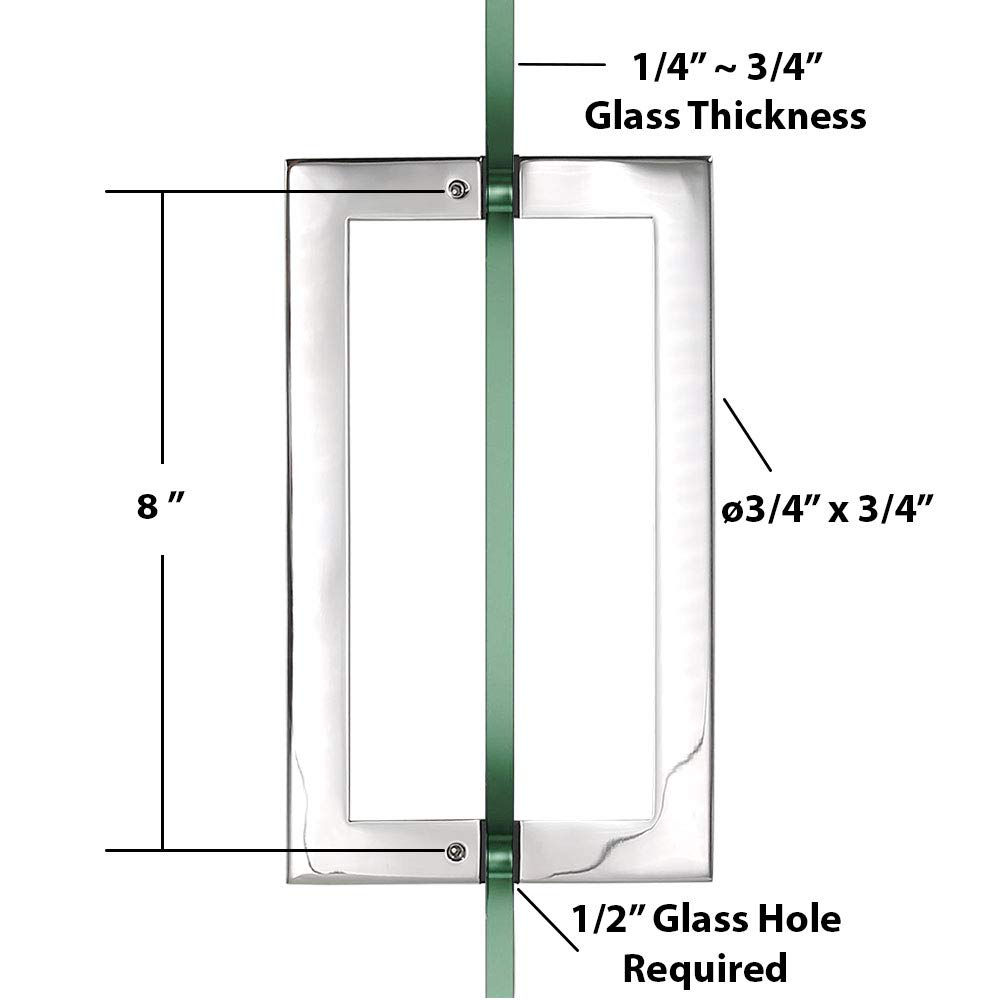 GAS304-GP-SSSP203M Chromed 90 Degree Geneva Wall to Glass Shower Door Hinge for 1//2-3//8 Glass and 8 Pull Handle Set