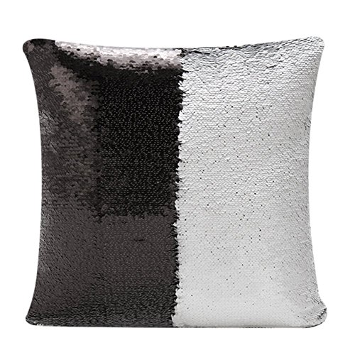 [Fengheshun Reversible Sequins Mermaid Pillow Covers 40×40 cm Magical Color Changing Pillowcase Christmas Decoration] (Black And White Mermaid Costume)