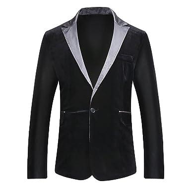 Jacket Veste Blazer Homme Cachemire Slim Fit Casual Elegant Costume Manteau  Noir S a77ab825bd4