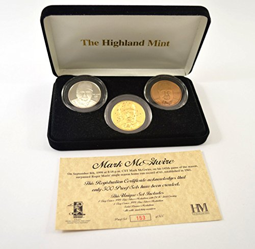 Highland Mint Mark McGwire 3 Coin Proof Sets 2 Troy Ounces # out of 500