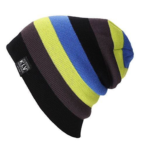 URIBAKE ❤ Fashion Unisex Beanie Hats Colorful Striped Knitted Wool Winter Warm Baggy Oversize Hat ()
