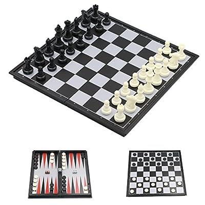 "3in1 Travel International Chess Board w/ Magnetic, 32pcs Chessmen& 5pcs Dices& 30pcs Backgammon, L, 12.6"" 12.6"" 0.78"""