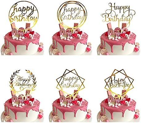 Miraculous 6 Pcs Happy Birthday Cake Topper Gold Geburtstag Kuchen Topper Funny Birthday Cards Online Alyptdamsfinfo