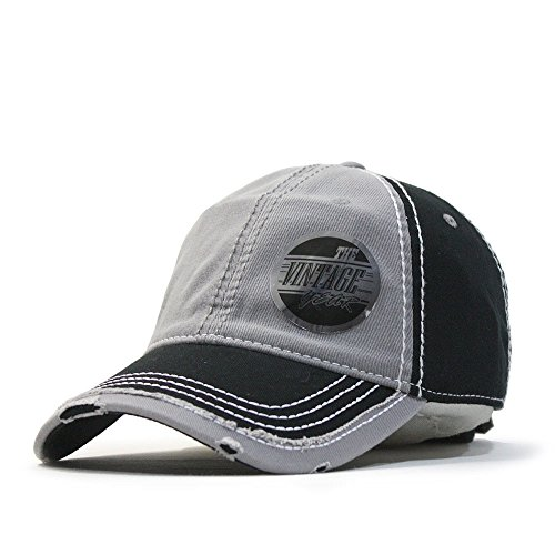 Trim Twill Visor (Vintage Washed Cotton Twill Distressed Trim Visor Baseball Cap w/ Adjustable Velcro (Black/Gray/Black))