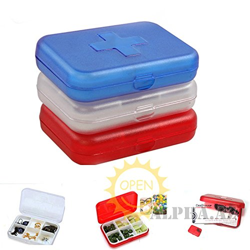 NPLE--Cross 6 Slots Medicine Medical Pill Drug Candy Cable Coin Small Box Case Caddy (White - Life Thug Zelda