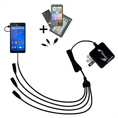 Unique Gomadic 4-Port Intelligent Compact AC Home Wall Charger suitable for the Sony Xperia C4 - High output power with a convenient and foldable plug design - Uses TipExchange Technology by Gomadic
