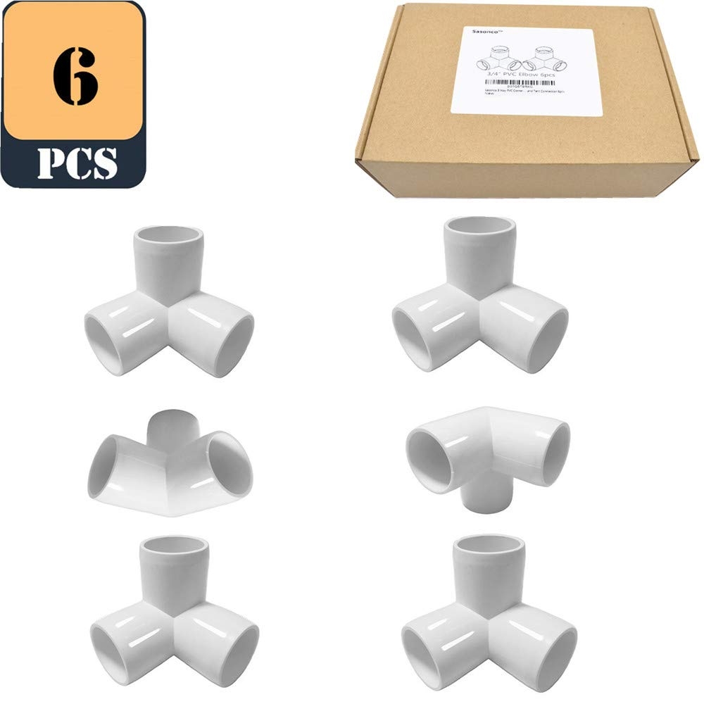 """Sasonco 3 Way PVC Corner Fitting 3/4"""" PVC Elbow Corner Side Outlet Tee Fitting PVC Three Quarter Elbow Fittings for Furniture Grade,Greenhouse shed Pipe Fittings and Tent Connection 6pcs"""