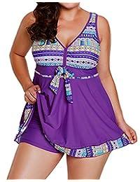EnlaChic Women Monochrome Print Flowy Tankini Top 2PCS Swimsuit with Bikini Bottom