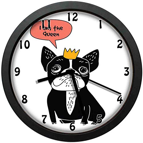 Hand Drawn Illustration of a Puppy with a Crown and I am The Queen Quote, Black Coral Marigold Wall Clock Nice for Gift or Office Home Unique Decorative Clock Wall Decor 12in with Frame