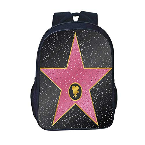 Popstar Party Durable Backpack,Hollywood Walk of Fame Symbol Celebrity Entertainment Culture for School Travel,11.8