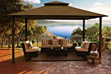 Paragon-Outdoor GZ584S Backyard Structure Sunbrella Soft Top Avalon Gazebo, 11' x 14' , Cocoa