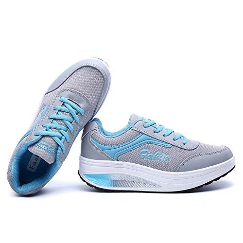 Lace Shoes Fitness Mesh Sneakers Fashion RX8388 Enllerviid Lightweight Rx8391 Platform Blue Women CM up 0w8xxYt1