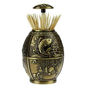 Holiberty luxury retro carp metal engraved auto automatic household toothpick holder - Pop up toothpick dispenser ...