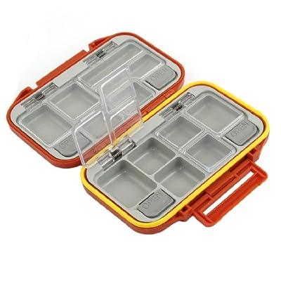 Fishing 12 Slots Fish Hook Bait Storage Box Case Holder Orange Red