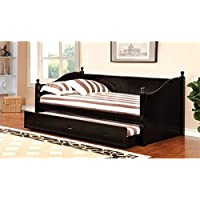 HOMES: Inside + Out IDF-1928BK Hallie Cottage Daybed with Trundle, Twin, Black