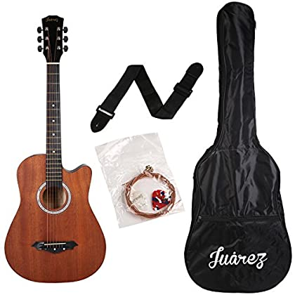 JUAREZ JRZ38C/mAh 6 Strings Acoustic Guitar 38 Inch Cutaway, Right Handed, Mahogany with Bag, String, Picks and Strap (Brown)