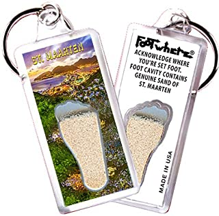 """product image for St. Maarten """"FootWhere"""" Keychain (StM104 - PM Bay). Authentic Destination Souvenir acknowledging Where You've Set Foot. Genuine Soil of Featured Location encased Inside Foot Cavity. Made in USA"""