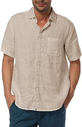 YYear Mens Short Sleeve Button Up Denim Cotton Casual Shirt Blouse Top