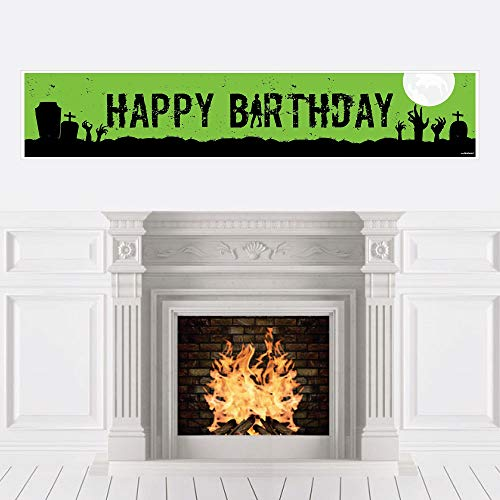 Big Dot of Happiness Zombie Zone - Birthday Zombie Crawl Party Decorations Party Banner for $<!--$17.99-->