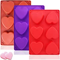 3 Packs 6 Cavities Heart Shaped Silicone Mold (Purple, Red, Brown),SourceTon Baking Mold Cake Pan, Biscuit Chocolate Mold, Ice Cube Tray, Soap Mold